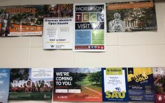 A wall of the cafeteria is dedicated to alerting students of college admissions officers that come to visit the high school.