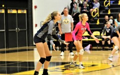 Senior Sarah Hoskins is focused and ready to receive the ball during a match against Bettendorf.