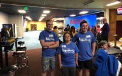 Connor Schlichte, Rachel Wanke and Ben Babcock, representing part of Pleasant Valley's Special Olympics Team, smile for a picture after their most recent bowling tournament.