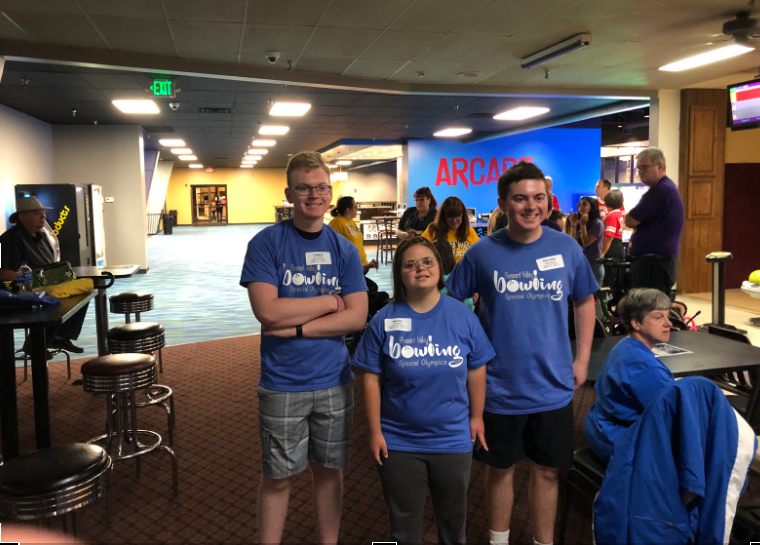 Connor+Schlichte%2C+Rachel+Wanke+and+Ben+Babcock%2C+representing+part+of+Pleasant+Valley%27s+Special+Olympics+Team%2C+smile+for+a+picture+after+their+most+recent+bowling+tournament.