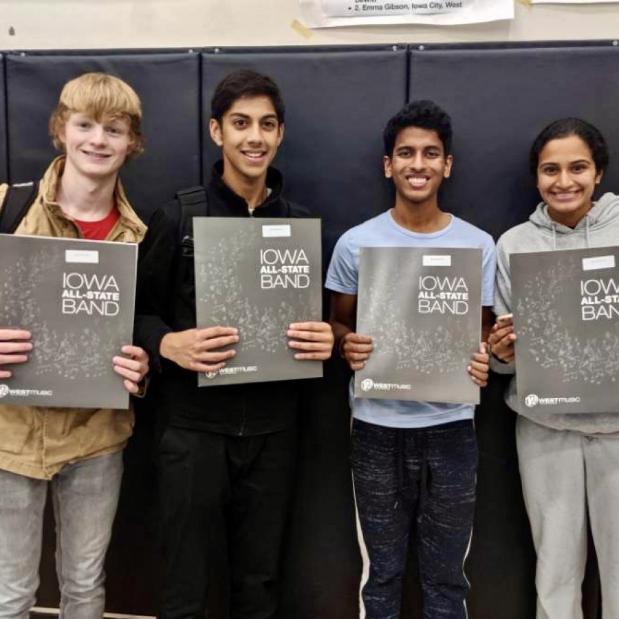 %28From+left+to+right%29+Sam+Mcgrath%2C+Ani+Pradeep%2C+Sanjiv+Iyer%2C+and+Amulya+Pillutla+pictured+with+their+All-State+packets+after+being+accepted+into+the+All-State+Band.+