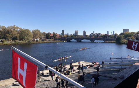 Rowers pass underneath Anderson Bridge, one of the seven bridges on the course. Multiple crashes occur every year under the bridge.