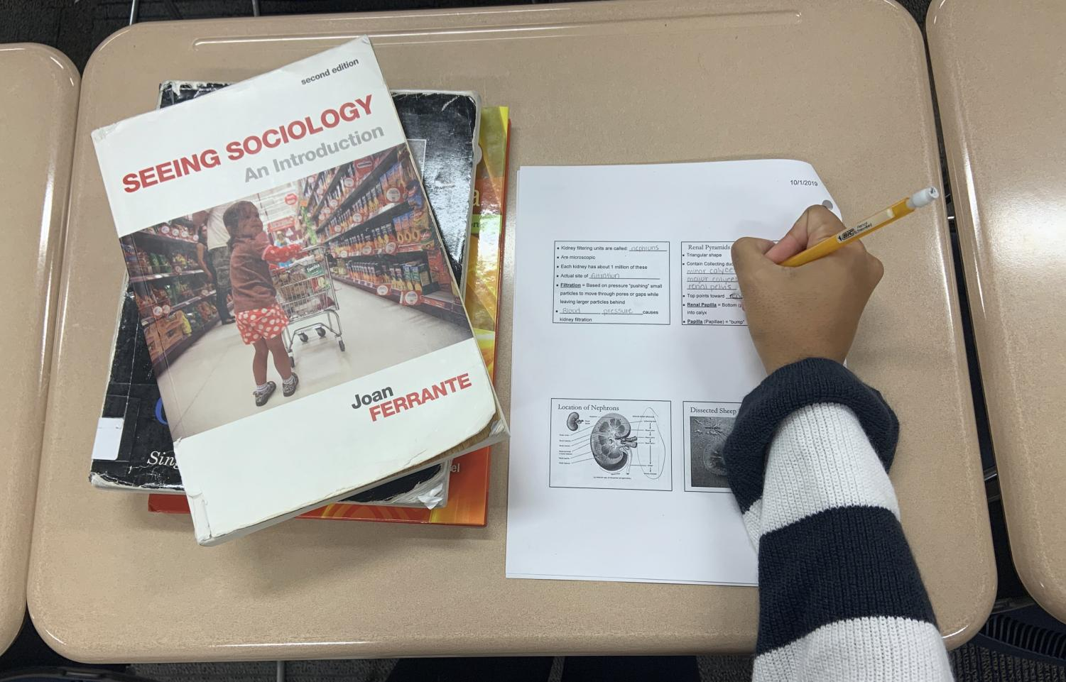 Sakshi Lawande works on assignments from her basic core classes.