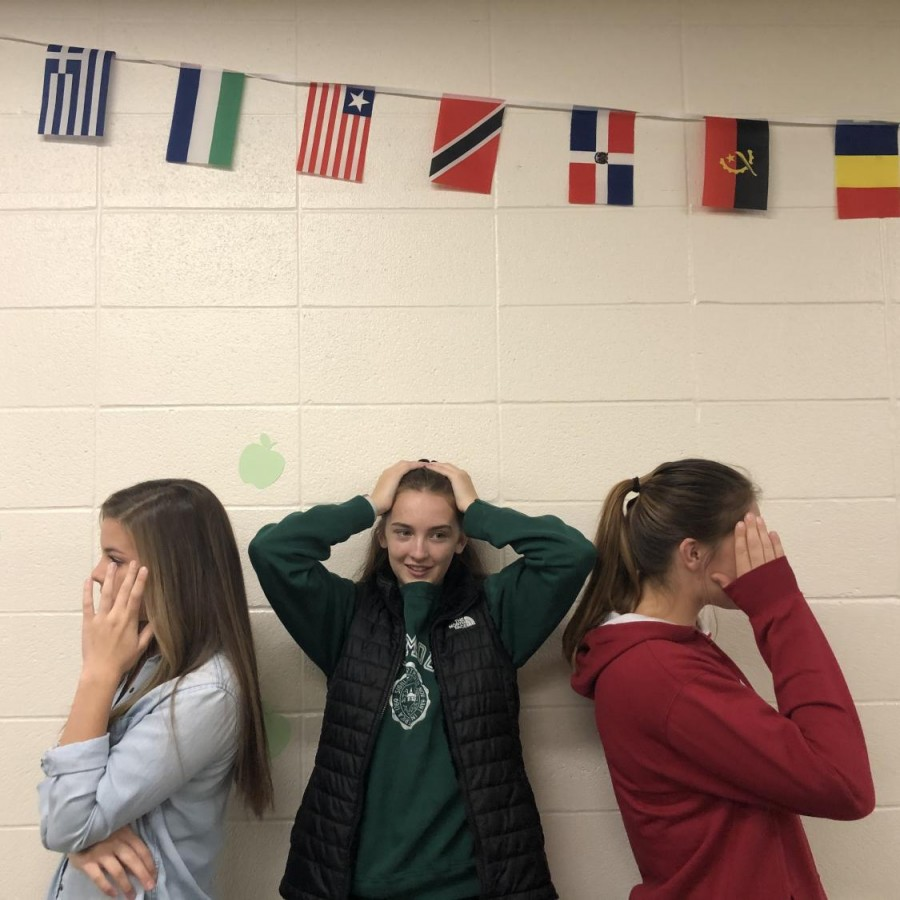 Grace+Halupnik+%28left%29%2C+Maddy+Licea+%28center%29+and+Taylor+English+%28right%29+show+frustration+in+school+due+to+the+arguing+between+different+political+views.