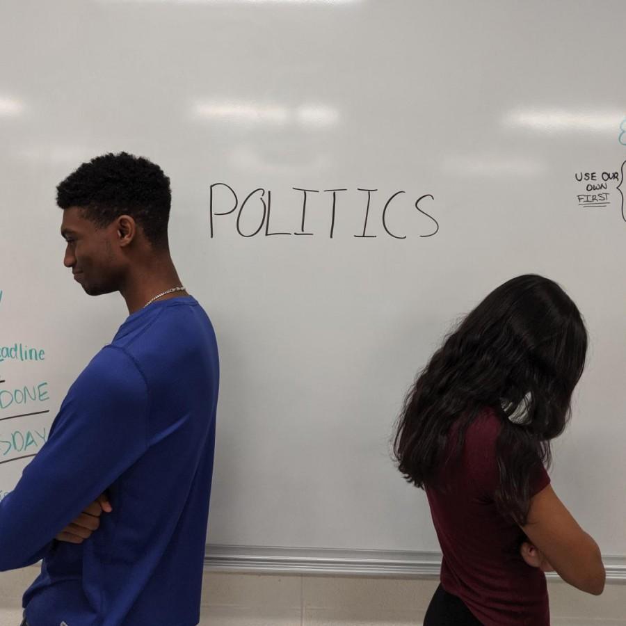 Students+Sakshi+Lawande+and+Chris+Cumberbatch+turn+away+from+politics.