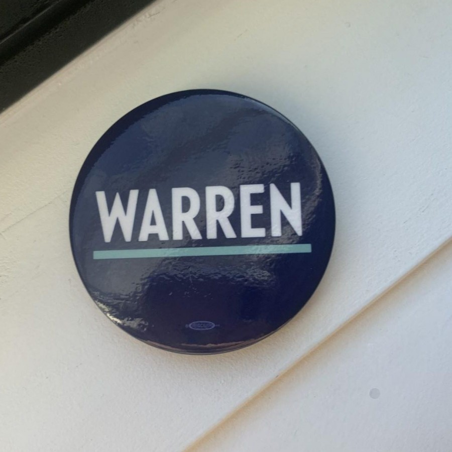 Warren supports pins are given out at rallies and available on her website.