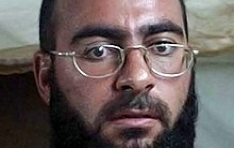 A mugshot photo of Baghdadi detained at Camp Bucca, Iraq, 2004