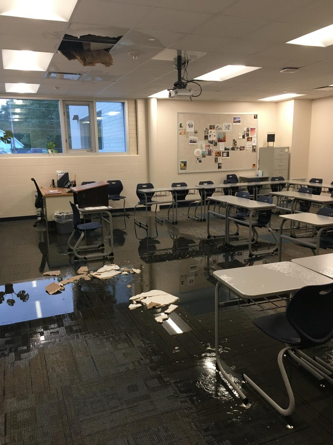 The damage done to Terronez's classroom on Tuesday morning.