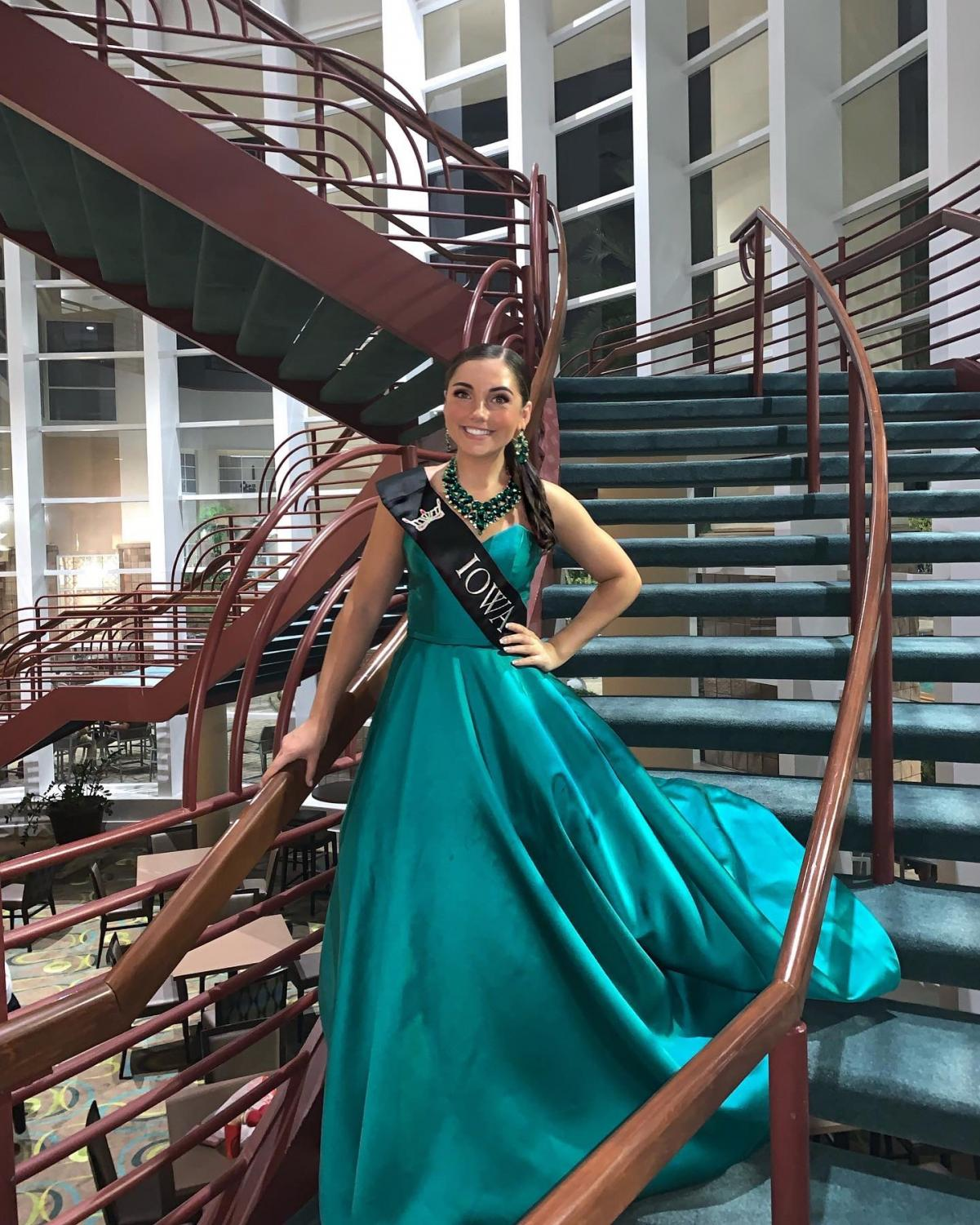 Caitlin Crome poses at the Miss America pageant in Orlando, Fla. in July, one month after she was crowned Miss Iowa's Outstanding Teen.