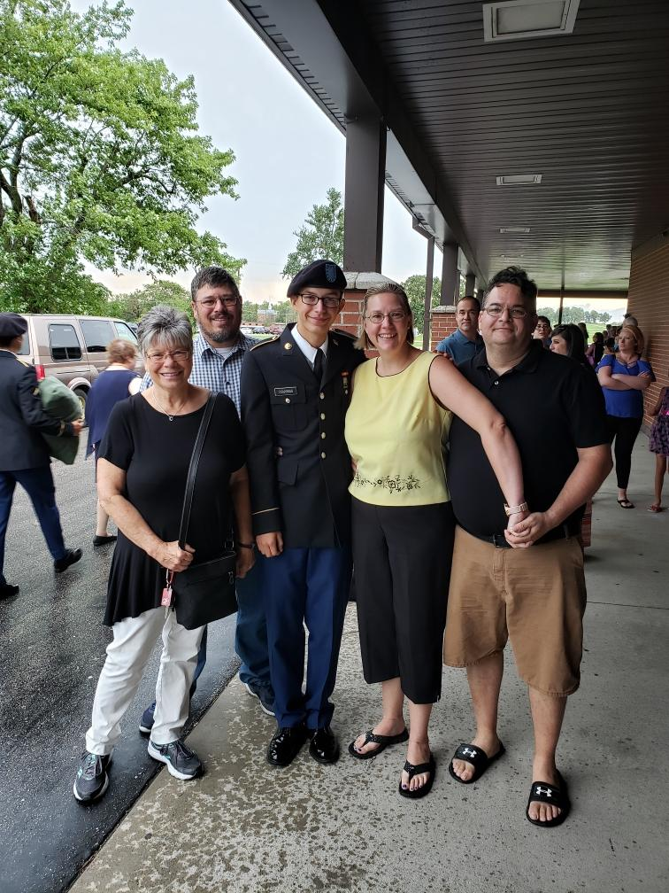 Weston Douvakis is celebrating his title of Soldier after Basic Combat Training with this family.