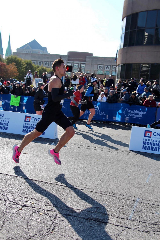 Austin O'Brien pushes himself through the final miles of the marathon.