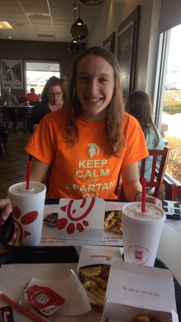Senior Brenna Morley enjoys a meal at popular food chain Chick-fil-A.