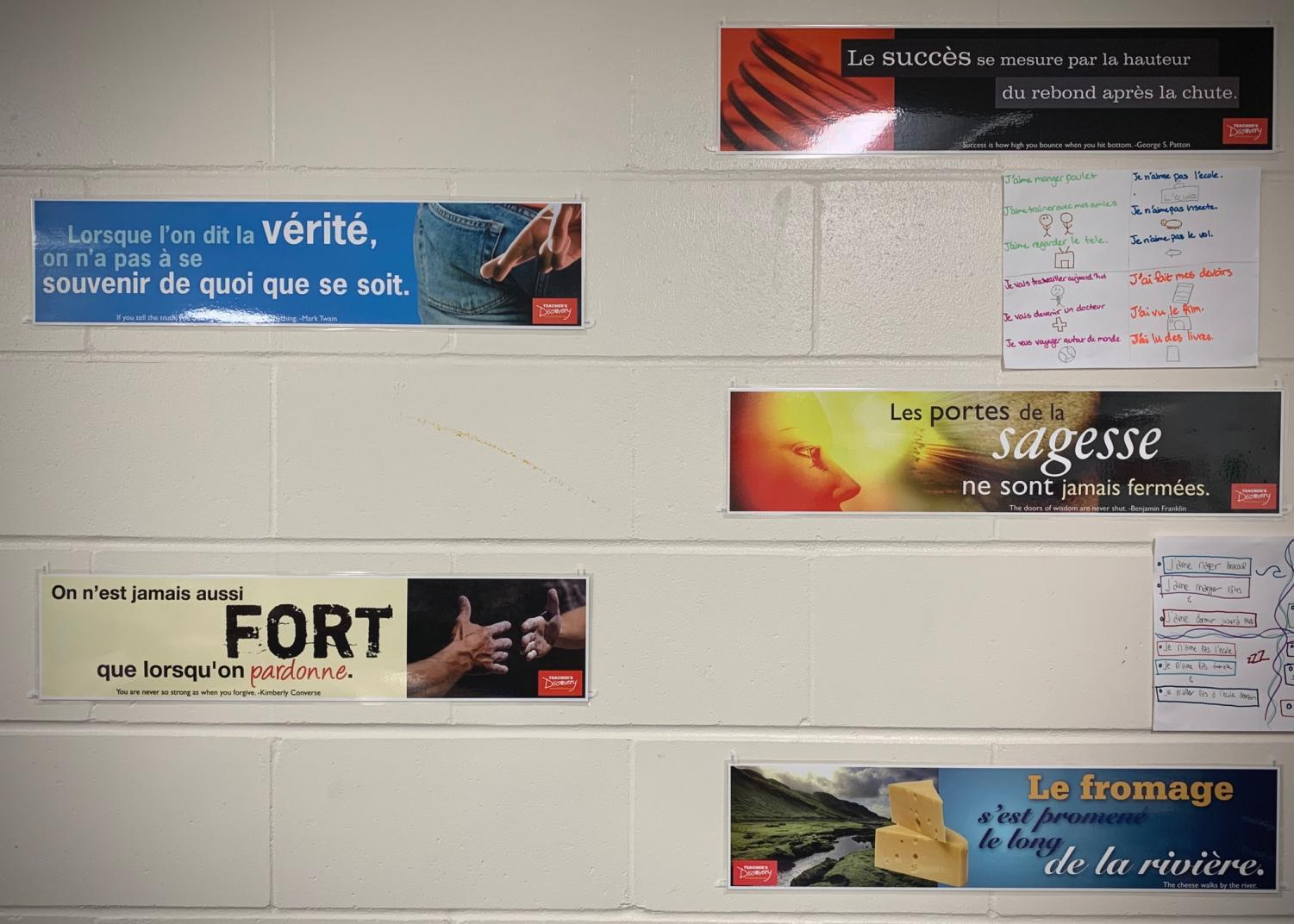 Posters like these cover the walls of foreign language classrooms at PV.