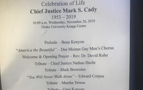 The program from Judge Cady's funeral on Nov. 20. The death of the judge was honored by several Iowans.