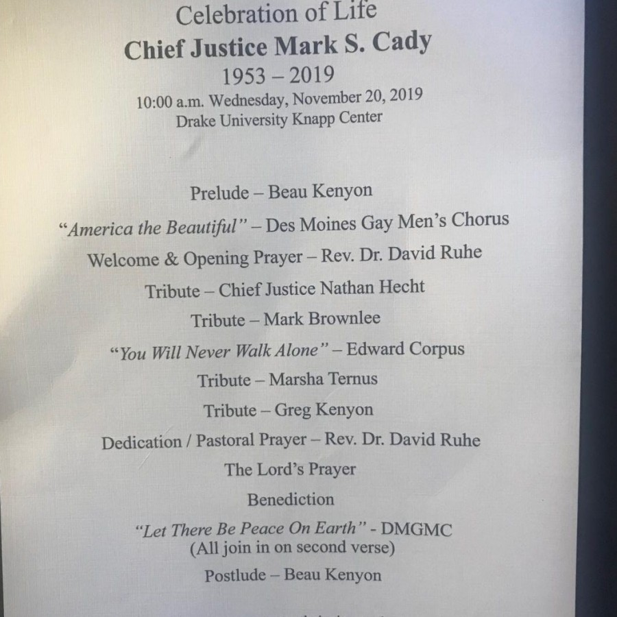 The+program+from+Judge+Cady%27s+funeral+on+Nov.+20.+The+death+of+the+judge+was+honored+by+several+Iowans.