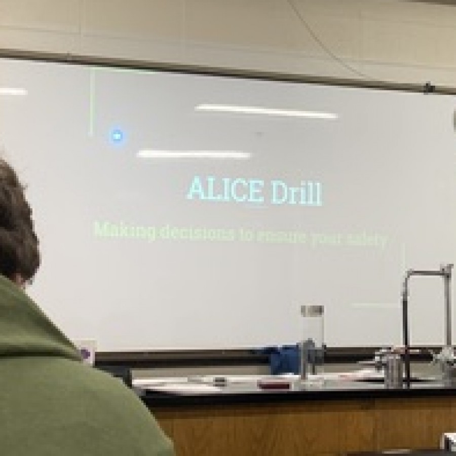 The lead slide on the Alice drill presentation, in a third period class.