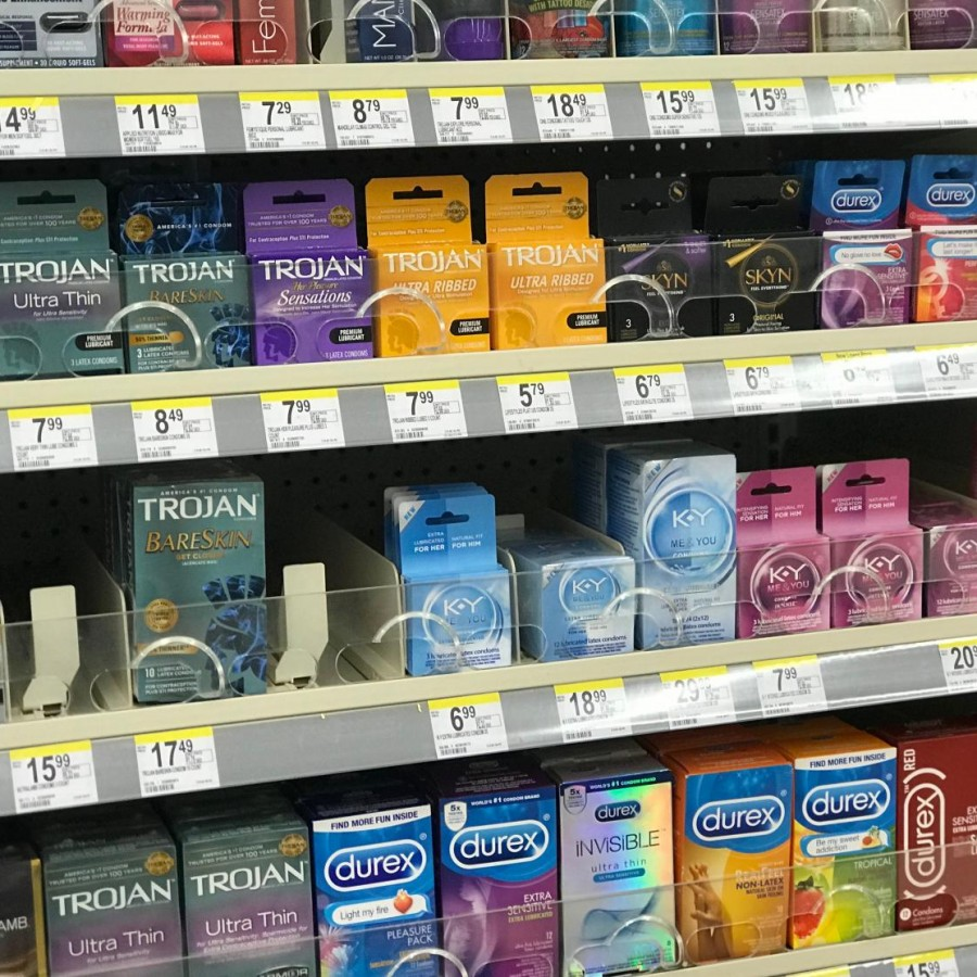 Various+brands+of+condoms+are+sold+at+this+local+Walgreens.+