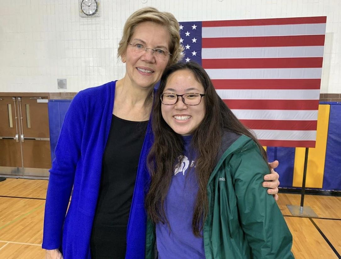 Senior Margret Huang posing with Senator Warren at Davenport North High School during her rally.
