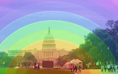 Picture of Capital hill taken by Maddy Licea with the rainbow cover to represent the need for change. The rainbow background comes from Pixabay.