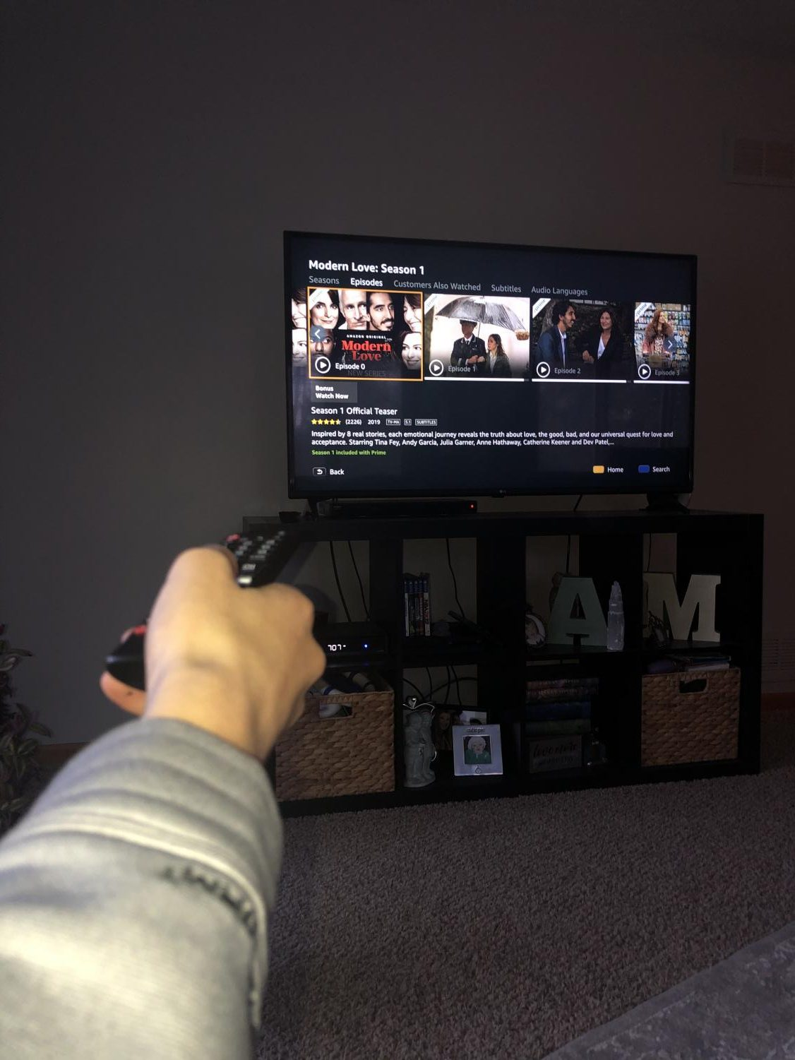 "A viewer of ""Modern Love"" turns on the TV to watch the next episode of the season."