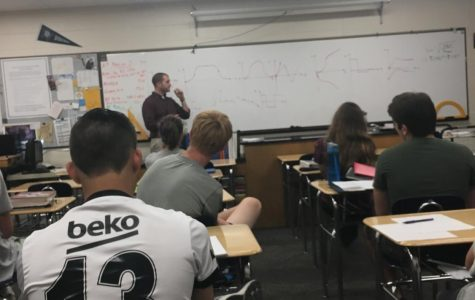 Mr. Spangenberg teaching AP Physics to his class a month before their AP test.