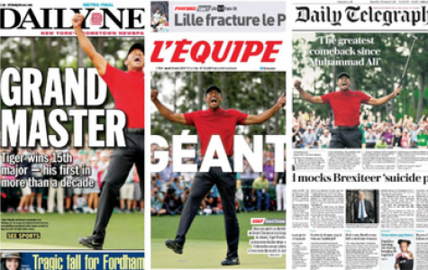Some of the front pages of newspapers after Woods' win portraying how much the win meant to him and the world of sports.
