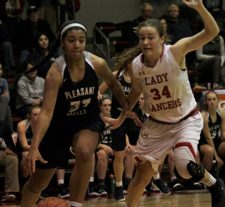 Player of the week Ilah Perez makes an offensive play against the North Scott Lady Lancers.