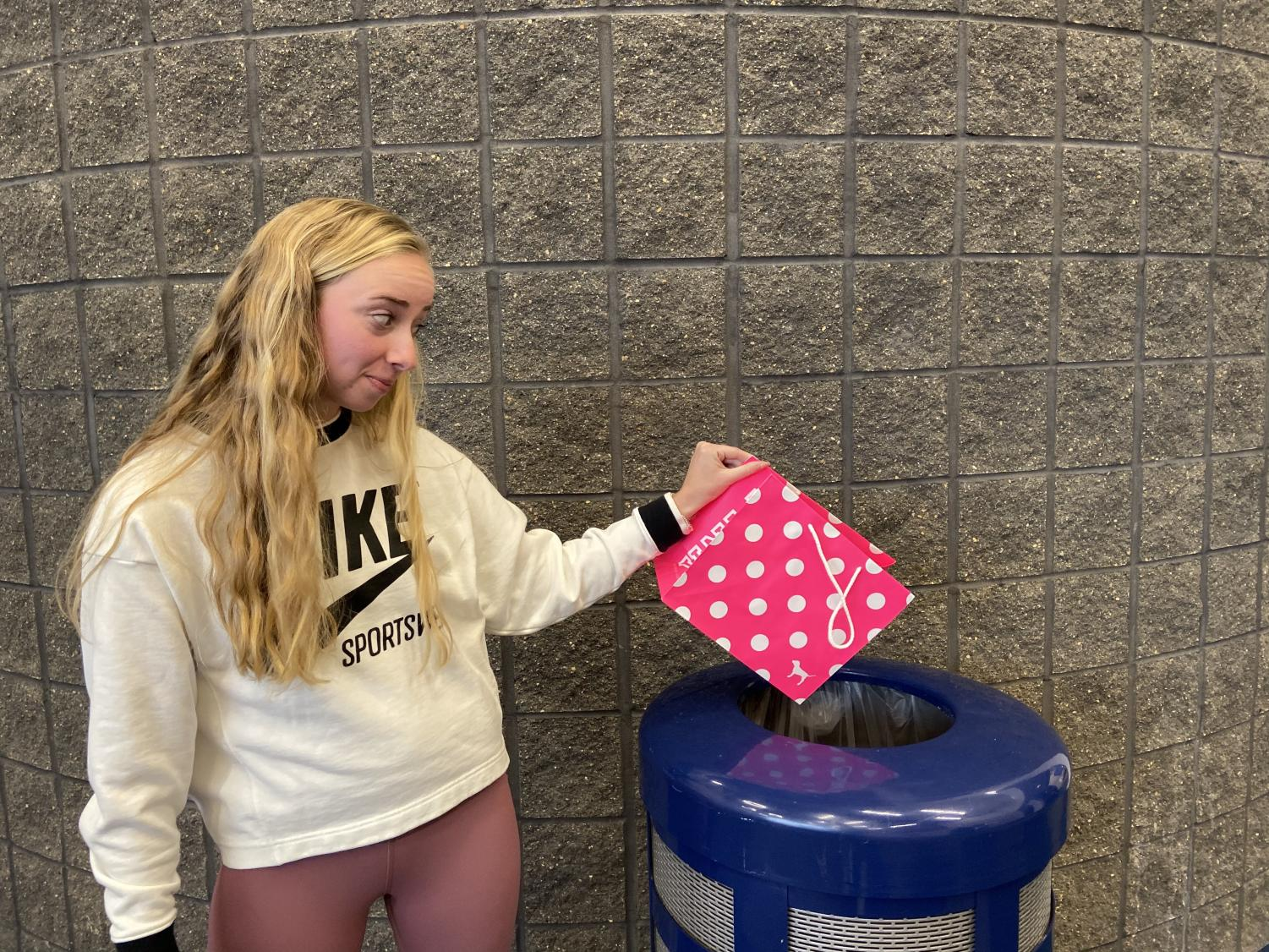 Senior Claire Fields shows her disapproval for Victoria's Secret's lack of leadership in promoting body positivity with the cancellation of their annual fashion show on November 26, 2019.