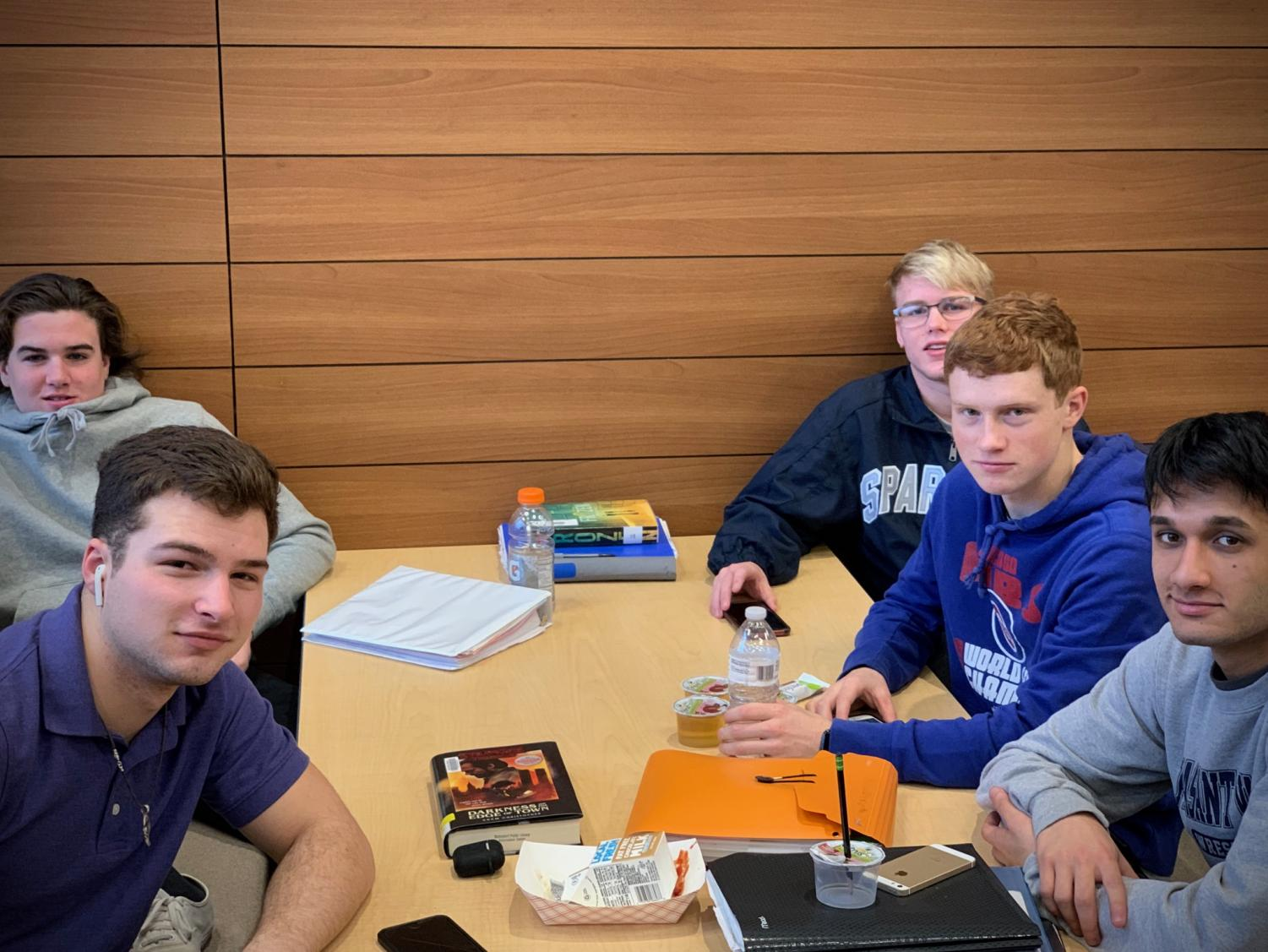 (Left to Right, Front to Back) Braxton Farmer, Brendan Hills, Shubahm Chauhan, Matt Dresselhaus, and Eli Loyd hang out in study hall. PV's caucasian to noncaucasian ratio is similar to the group of students in this photo -- around 4:1.