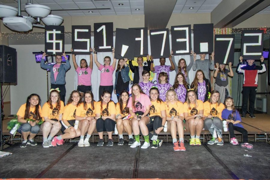 Students on Dance Marathon from St. Ambrose University reveal the grand total from all high school minis.