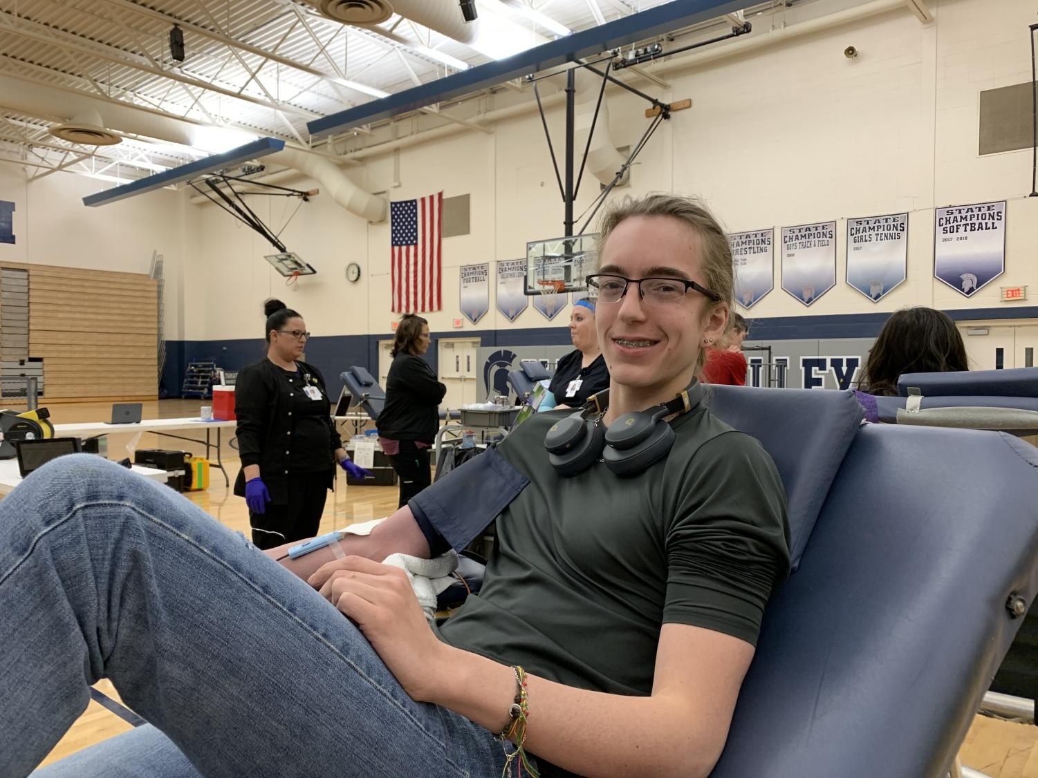 Junior Rohan Abernathy-Wee donates blood for the second time, with plans to continue in the future.