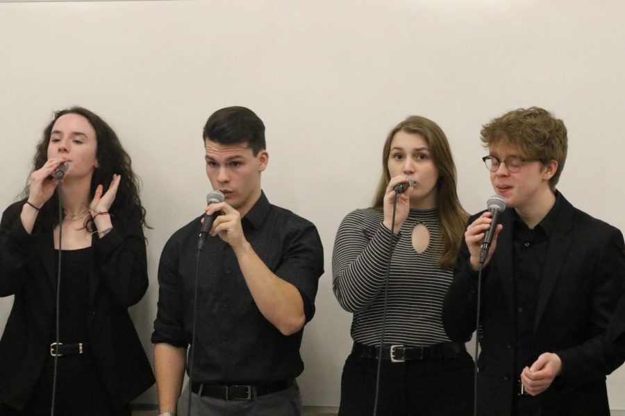 Members of the Leading Tones record one of their song submissions for their audition to be selected for the 2020 Iowa Vocal Jazz Championships