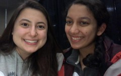 Senior Kate Stewart (left) and Aabha Joshi (right) attend the Iowa Caucus on Feb. 3 in Bettendorf.