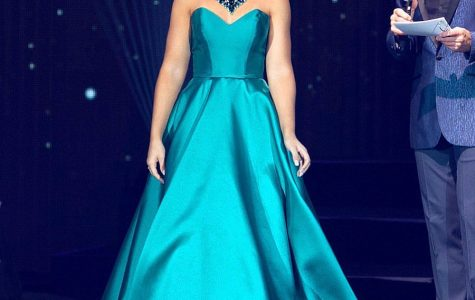 Senior Caitlin Crome representing Iowa at Miss Americas's Outstanding Teen 2020 in her dress from Stacy's Prom in Urbandale, Iowa.