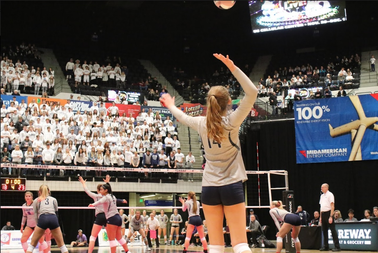 Pleasant Valley freshman Chloe Cline serves the ball during the 2019 State Volleyball Tournament