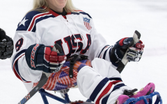 PVHS aide and captain of the USA women's sled hockey team, Erica Mitchell warms up for her game against Canada.