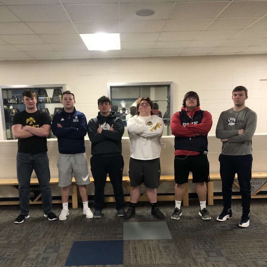 Nick Sturdevant, Hunter Piper, Michael VanderShaft, Logan Paul, Kane Zemo and Michael Musal pose as they prepare for their act in the talent show.