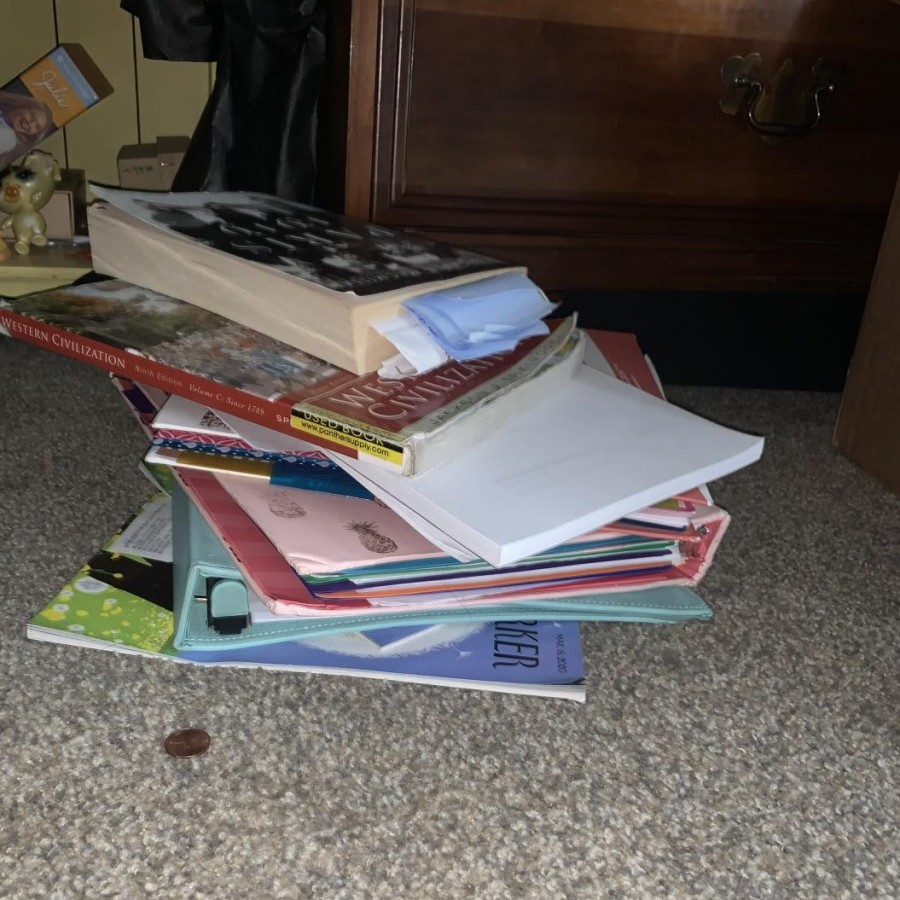 A stack of Licea's school supplies and books which are not being used due to Governor Reynolds not passing law to give access to an online education.