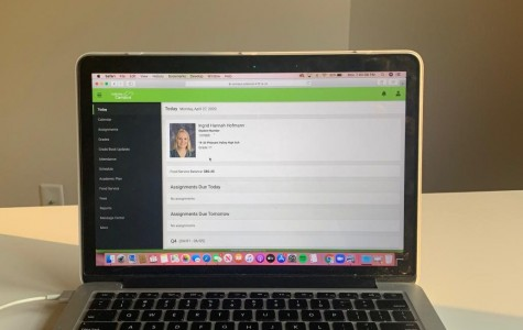Junior Ingrid Hofmann checks her grades online.