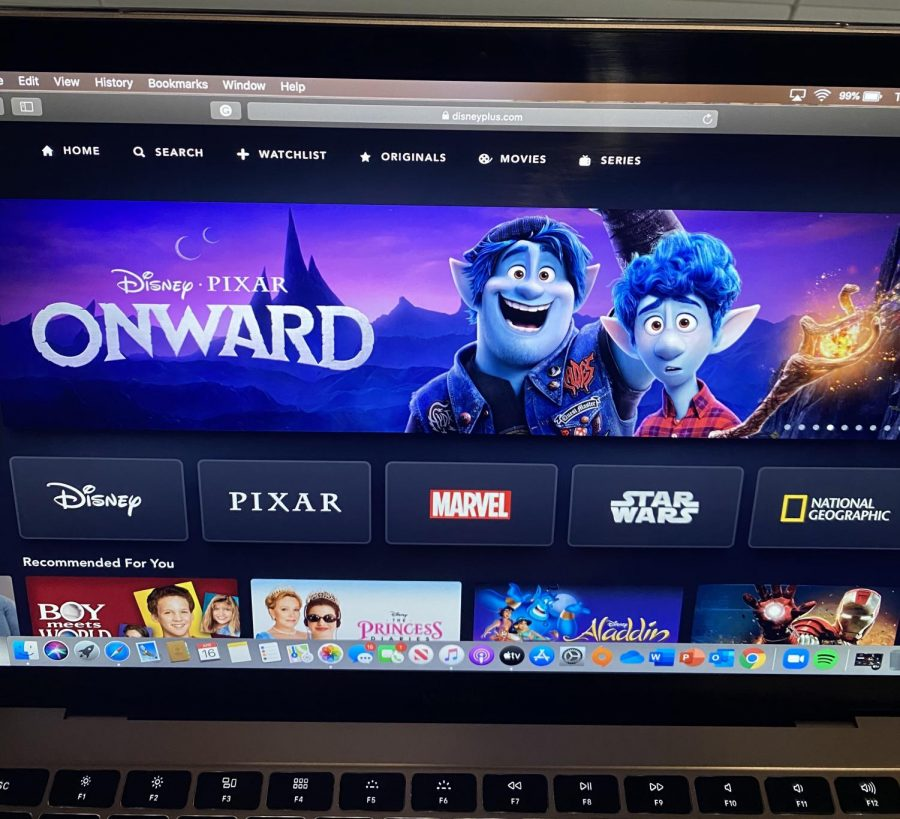 Disney+Plus%E2%80%99+homepage+featuring+one+of+its+newest+releases+Disney%C2%B7Pixar%E2%80%99s+Onward%2C+one+of+the+2020+films+that+had+its+theatrical+run+cut+short+due+to+COVID-19%0A