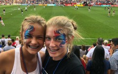 Sophomores Camryn Woods (left) and Addie Kerkoff (right) cheer on the United States women's national soccer team at the Tournament of Nations last year.