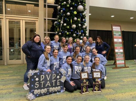 The 2019-20 Pleasant Valley Platinum holding their trophies from state.