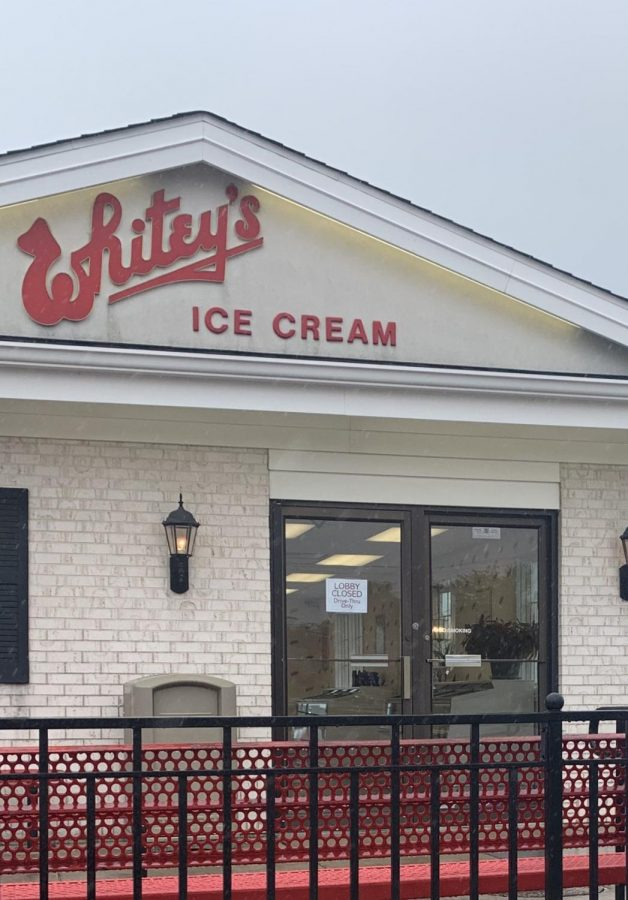 Whitey%E2%80%99s+Ice+Cream+reopens+its+doors+on+May+11%2C+but+has+sign+on+the+door+stating+that+the+lobby+is+closed.+