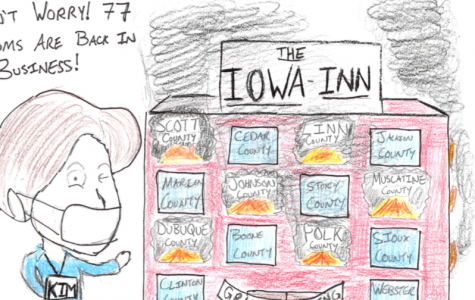 Dahm's cartoon featuring Governor Reynolds after her decision to reopen 77 counties.