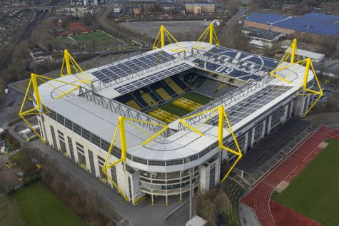 The Signal Iduna Park, home of German soccer team Borussia Dortmund. The stadium was empty as it played host for the club in the first week back from the season