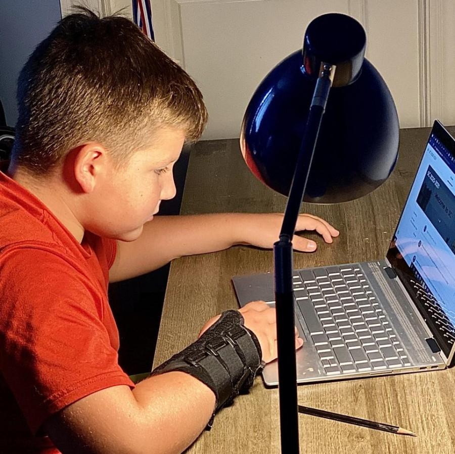 PV student Evan Van Utrecht works on school work through google classroom.