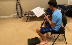 Senior Ani Pradeep practicing his solo for the Iowa All State Honor Band