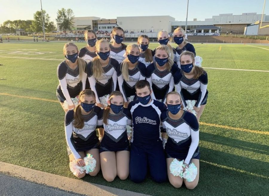 Platinum's Varsity team before performing at the first halftime show of the year.