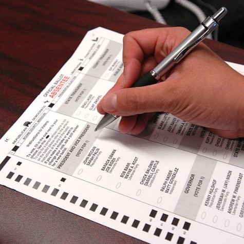 Member of the United States military fills out their absentee ballot during the 2008 election.