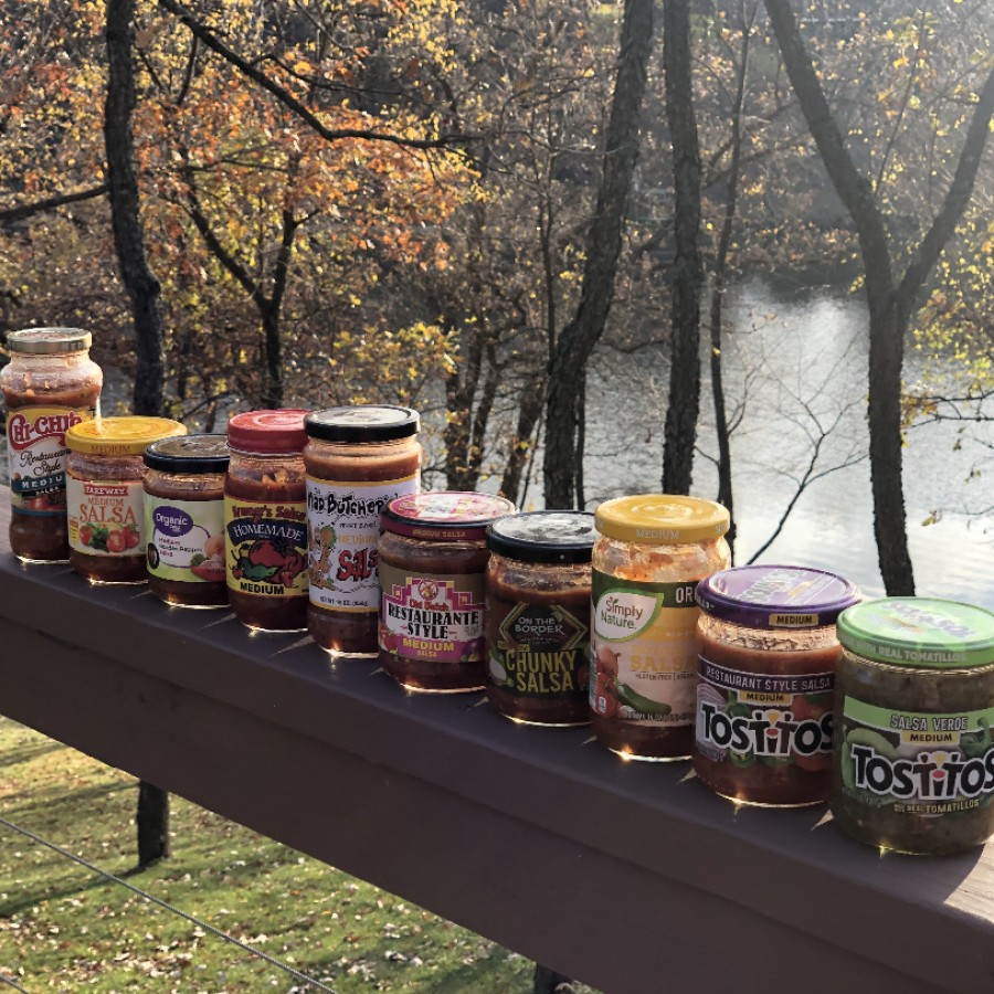 A lineup of the 10 store bought salsas which underwent a scrutinizing taste test.
